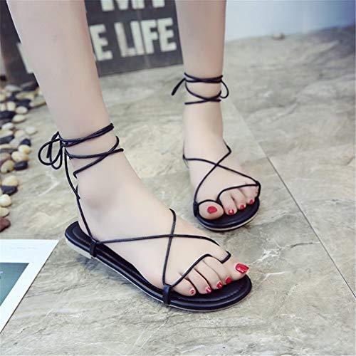 Bottes Chaussures De Shoes Black Plats Plage YUCH Femme Toe Bandages axZdZ4wq