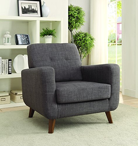 Cushion Back Accent Chair Grey - Set includes: One (1) accent chair Material: Linen-like fabric Fabric Color: Grey - living-room-furniture, living-room, accent-chairs - 514fUzeFHnL -