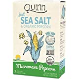 Quinn Popcorn Microwave Popcorn - Made with Organic Non-GMO Corn - Great Snack Food for Movie Night {Just Sea Salt, 1 Box}