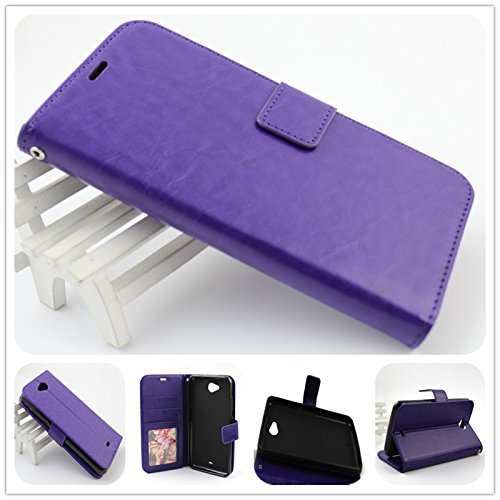 For BLU Studio 5.5 C D690U / D690L PERFECT FIT Luxury Leather Wallet Case with ID Showing Window (Purple) - Iphone 3 Gs Skin Case