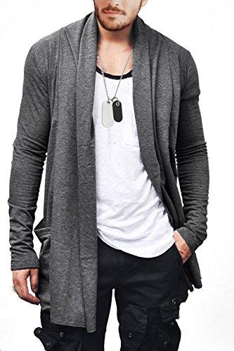 Blend Long Cardigan - FISOUL Men's Cardigan Ruffle Shawl Collar Cardigan Open Front Blend Long Length Drape Cape Overcoat