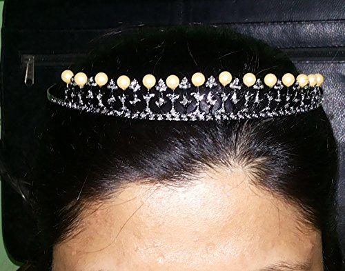 Victorian Style 4.20ctw Rose Cut Diamond Pearl .925 Sterling Silver Wedding Tiara by Pushpa Jewels