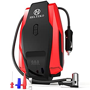 Helteko Portable Air Compressor Pump 150PSI 12V - Digital Tire Inflator - Auto Tire Pump with Emergency Led Lighting and Long Cable for Car - Bicycle - Motorcycle - Basketball and others