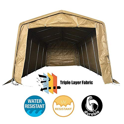 kdgarden 10' x 20' Portable Domain Carport Heavy Duty Enclosed Car Canopy Outdoor Instant Garage Tent with Sidewalls for Auto and Boat Storage, Waterproof and UV-Treated, Khaki Peak Top Style