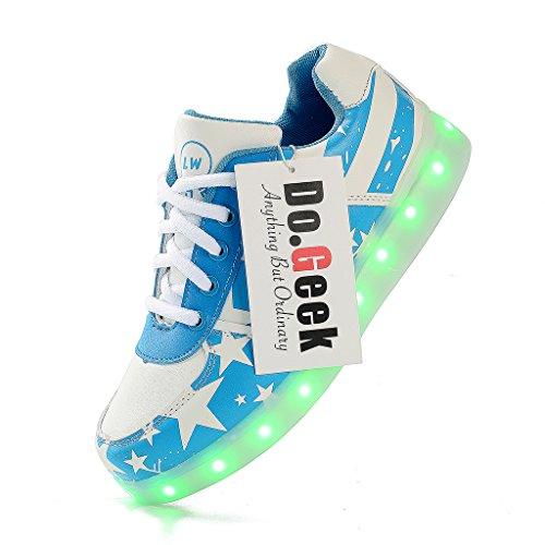 7 Carga Deportivas Azul Led Niños De una Más Pedir Niñas Color DoGeek USB Zapatos Zapatillas Talla Luces Mejor BxpfqI8wg