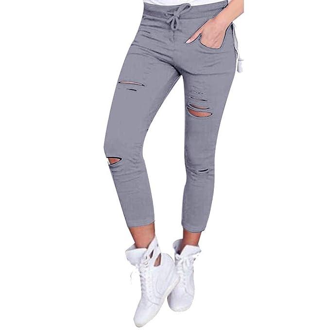 DOGZI Mujer Vaqueros Pantalones Pitillo Cintura Alta Stretch ...