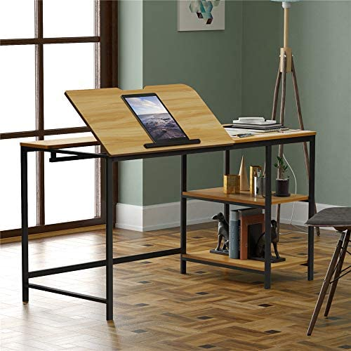 SSLine 55″ Drafting Table Brown Wood Metal Study Writing Desk Multi-Functional Drawing Table Workstation w/Adjustable Tilting Tabletop Storage Shelves Simple Large Home Office Computer Desk