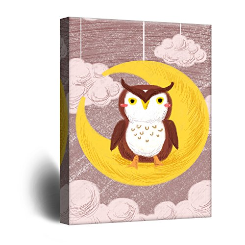 Cute Cartoon Animals an Owl Sitting on The Crescent Moon Kid