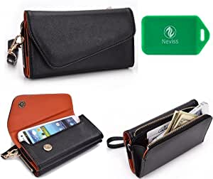 Alcatel OT-995 Universal black w/ burnt orange interior wristlet wallet