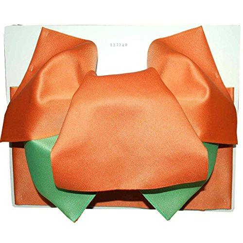 望遠鏡しおれた洗練浴衣 作り帯 変り結び帯 シンプル2色 オレンジ?鶸色(ひわいろ)