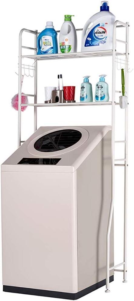 Machine shelf De pie en rack Lavadora, Tendedero balcón de almacenamiento, fuerte capacidad de carga, Baño rodillo tirón rack Lavadora, acero al carbono, doble piso, 68 * 28.5 * 160cm estante del baño