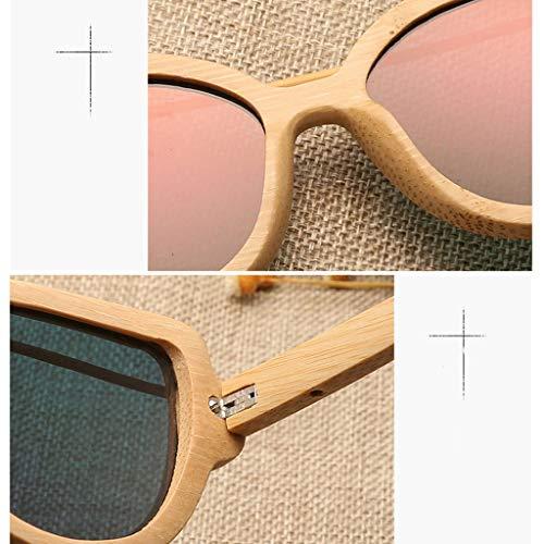 pour Couleur de Bois Couleur UV Femmes en Lunettes Lunettes Soleil polarisées Orange Protection la Pink Film en soleil Bambou de Soleil de Lunettes de Lunettes Mode Bambou à wXq4PY