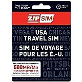 ZIP SIM Prepaid USA SIM For Travelers DATA Only 500MB, 7 Days Plan(Universal : Standard, Micro, Nano SIM)