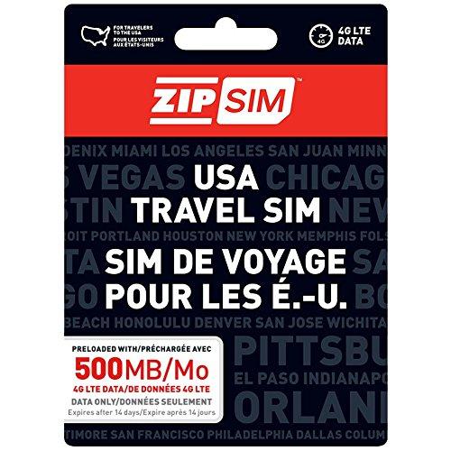 ZIP SIM Prepaid USA SIM For Travelers DATA Only 500MB, 7 Days Plan(Universal : Standard, Micro, Nano SIM) by ZIP SIM