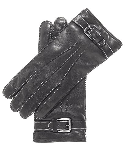 Black Italian Leather Long Gloves (Fratelli Orsini Men's Italian Cashmere Lined Leather Gloves With Shearling Cuff Size 10 Color Black)
