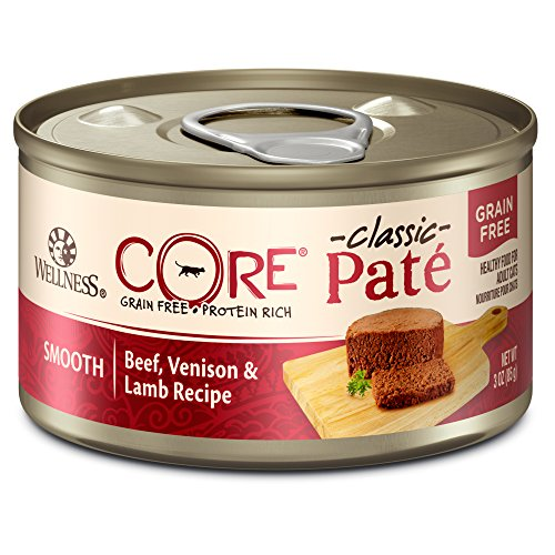 Wellness CORE Natural Grain Free Wet Canned Cat Food, Beef, Venison & Lamb, 3-Ounce Can - Pack of - Cat Venison Canned Food