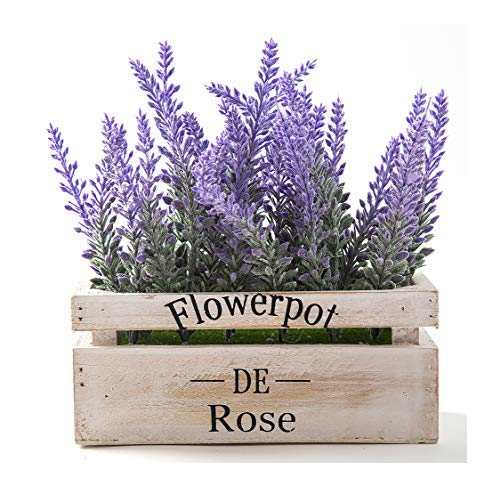 LODESTAR Artificial Lavender Flowers in Wooden Pot Mini Fake Floral Bouquet Indoor Outdoor Home Wedding Decoration - Purple