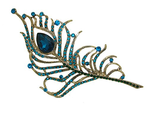 - TTjewelry Gorgeous Peacock Feathers Rhinestone Crystal Brooch Pin (Green)