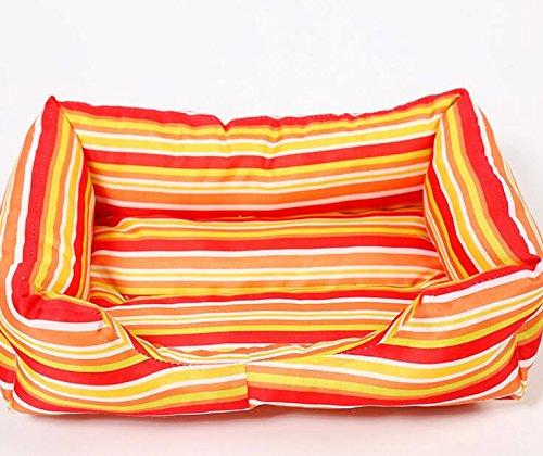 Xinjiener Cuscino a pelo per gatti gatti gatti con cuscino per letto per cani ultra morbido caldo lavabile (strisce gialle, M) d87111