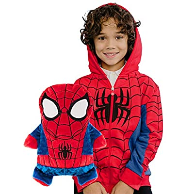 CUBCOATS Spider-Man - 2-in-1 Transforming Hoodie and Soft Plushie - Red and Black