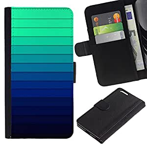 Paccase / Billetera de Cuero Caso del tirón Titular de la tarjeta Carcasa Funda para - Gradient Color Stripes Blue Green Light - Apple Iphone 6 PLUS 5.5