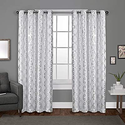 """Exclusive Home Curtains Modo Metallic Geometric Window Curtain Panel Pair with Grommet Top, 54x84, Winter White, 2 Piece - Modo drapes offer a metallic interlocking circular design on a luxurious textured linen look jacquard fabric Includes:  Two (2) curtain panels, each measuring:   54""""W x 84""""L 8 matte silver grommets per panel; inside diameter for curtain rod measures 1-5/8"""" - panel sewn with 4"""" heading; 3"""" bottom hem - living-room-soft-furnishings, living-room, draperies-curtains-shades - 514fXoEaUFL. SS400  -"""