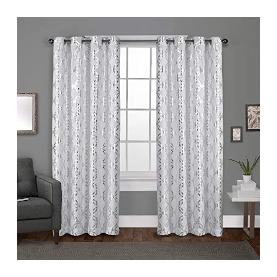 "Exclusive Home Curtains Modo Metallic Geometric Window Curtain Panel Pair with Grommet Top, 54x84, Winter White, 2 Piece - Modo drapes offer a metallic interlocking circular design on a luxurious textured linen look jacquard fabric Includes:  Two (2) curtain panels, each measuring:   54""W x 84""L 8 matte silver grommets per panel; inside diameter for curtain rod measures 1-5/8"" - panel sewn with 4"" heading; 3"" bottom hem - living-room-soft-furnishings, living-room, draperies-curtains-shades - 514fXoEaUFL. SS570  -"