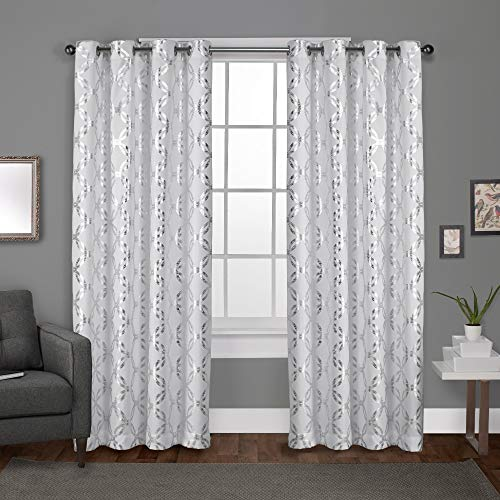 Exclusive Home Curtains Modo Metallic Geometric Window Curtain Panel Pair with Grommet Top, 54x84, Winter White, 2 Piece