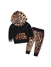 2pc kids baby Girls leopard Hooded coat+pants Outfits set Cotton autumn clothing ,6-12 Months DHY