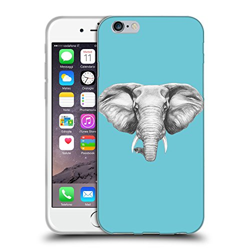 GoGoMobile Coque de Protection TPU Silicone Case pour // Q05130627 Dessin éléphant Cyan // Apple iPhone 6 4.7""