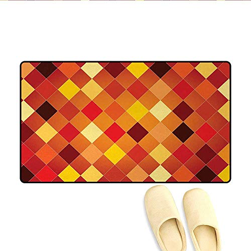 Bath Mat,Argyle Pattern with Colorful Rhombuses Classic Lozenge Geometric Arrangement,Door Mat Small Rug,Multicolor,Size:20