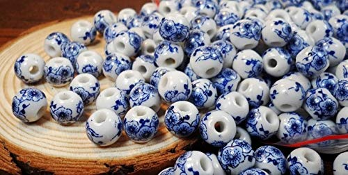 (Calvas 50pcs/lot 10mm Big Large Hole Ceramic Beads Flower Blue and White Porcelain Beads Handmade DIY Jewelry Making Accessories - (Color: 7))
