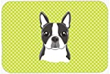 Caroline's Treasures Checkerboard Lime Green Boston Terrier Mouse Pad/Hot Pad/Trivet (BB1265MP)