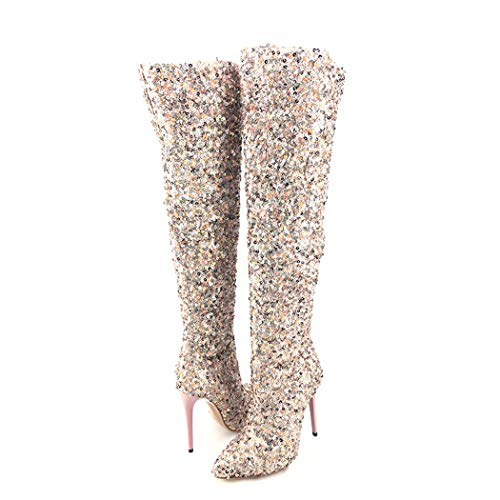 Wetkiss Scarpe Sopra Boots Da Fashion Ginocchio Partito Lustrini Stiletti 2018 Della Coscia Alti Le Tacchi Donna Di r4Pqpr