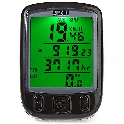 RUNACC Bicycle Wired Computer Speedometer Bike Odometer Wired Bicycle Speedometer with LCD Display Screen, Suitable for Mountain Bike, Road Bike and Common Bicycle, Black by RUNACC