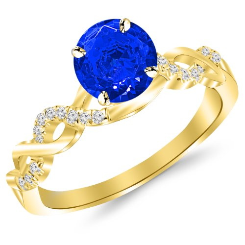 2.13 Carat 14K Yellow Gold Twisting Infinity Gold and Diamond Split Shank Pave Set Diamond Engagement Ring with a 2 Carat Natural Blue Sapphire Center (Heirloom - Natural Ct 2.13