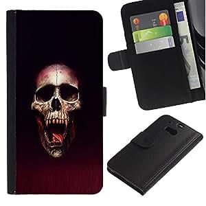 KLONGSHOP // Tirón de la caja Cartera de cuero con ranuras para tarjetas - Cráneo Blood Vampire - HTC One M8 //