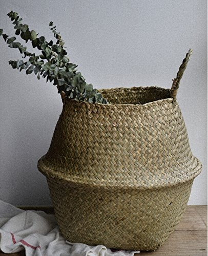 "DOKOT Natural Seagrass Belly Basket with Handles, Large Storage Laundry Basket (15"" Diameter x 13.4'' Height, Natural)"