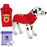 Bolbove Pet Classic Reindeer Cable Knit Turtleneck Sweater for Small Dogs & Cats Holiday Knitwear Cold Weather Outfit (Large - Red)