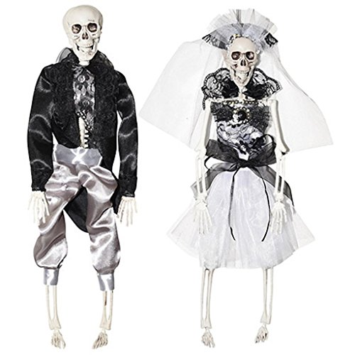 Bride and Groom Halloween Day of he Dead Skeleton Hanging Fancy Costumed 16