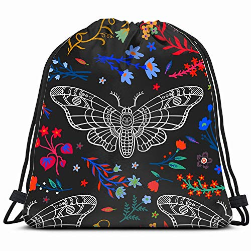 Dead Head Butterfly Night Holidays Abstract Nature Drawstring Backpack Gym Dance Bags For Girls Kids Bag Shoulder Travel Bags Birthday Gift For Daughter Children Women]()