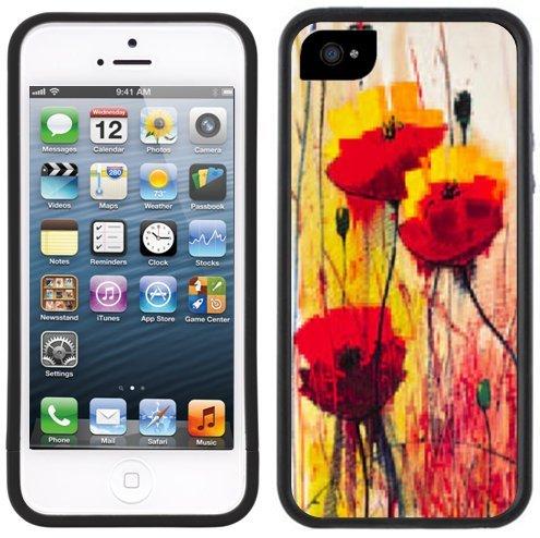 Mohnblumen Kunst | Handgefertigt | iPhone 5 5s | Schwarze Hülle
