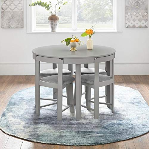 5-piece Tobey Compact Round Dining Set, Constructed of Sturdy Rubberwood, MDF and Veneer for Increased Durability, The Chairs are Curved to Conveniently Tuck Right Under the Table, Space Saving Design (Piece 5 Set Grey Dining)