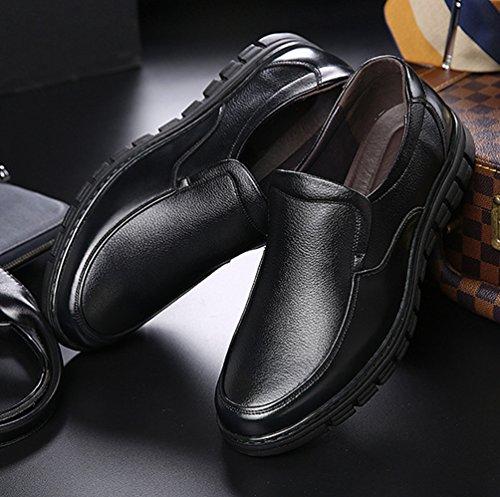 Comode Basso Casuale Yiiquan Uomo Traspirante Loafers Nero Pelle Affari Scarpe Scarpe Mocassini PU Punta Tonda vt4q4H5w