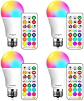 Yangcsl LED Light Bulb 75W Equivalent, RGB Color Changing Light Bulb, 6 Moods - Memory - Sync - Dimmable, A19 E26 Screw...