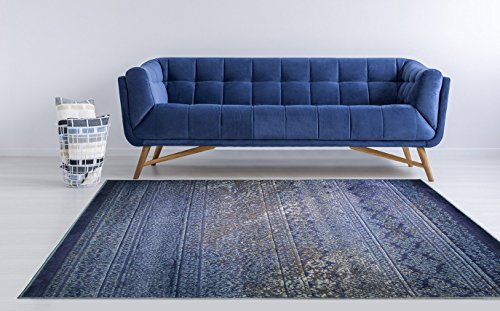 Cheap Adgo Hudson Collection Modern Geometric Striped Medallion Triangle Contemporary Carpet Thick Plush Stain Fade Resistant Easy Clean Bedroom Living Dining Room Floor Rug, Navy Blue, 4′ x 6′