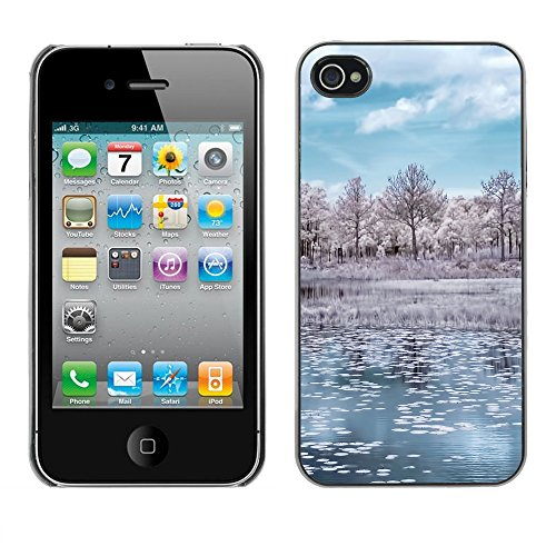 Premio Sottile Slim Cassa Custodia Case Cover Shell // F00015365 hiver réflexion // Apple iPhone 4 4S 4G