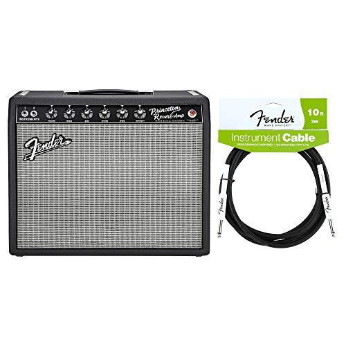 Fender '65 Princeton Reverb 15w 1x10 Combo Cable Bundle