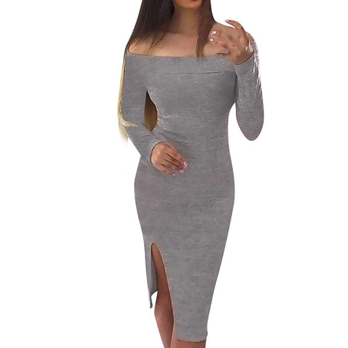Vestido De Mujer, Xinan Vestido casual largo a la rodilla de manga larga con hombros