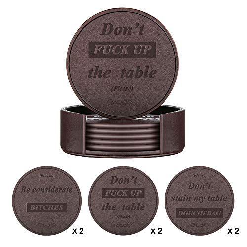 Funny Coasters for Drinks, THIPOTEN Faux Leather Coasters with Holder, 3 Sayings Coaster Set, Perfect Gift for Housewarming, Birthday, Party, Novelty Living Room Decor to Protect Your Furniture